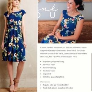 Anthropologie Dresses - Anthro Maeve Evaline floral smocked dress pockets